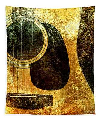 The Edgy Abstract Guitar Square Tapestry