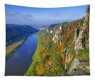 The Elbe Sandstone Mountains Along The Elbe River Tapestry