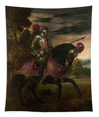 The Emperor Charles V 1500-58 On Horseback In Muhlberg, 1548 Oil On Canvas Tapestry