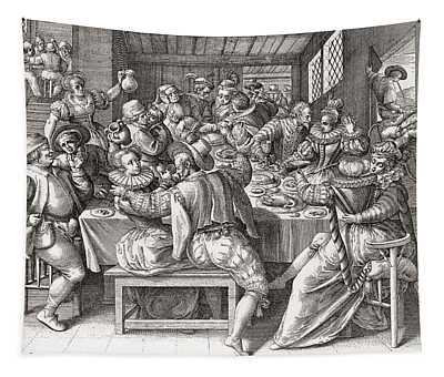 The Feast, After A 17th Century Engraving By N. De Bruyn.  From Illustrierte Sittengeschichte Vom Tapestry