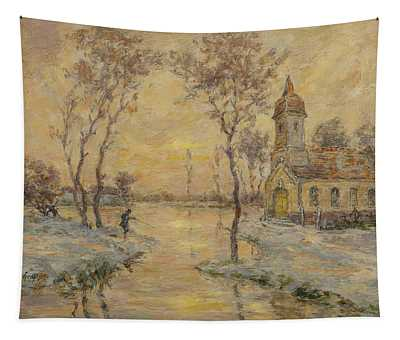 The Fishermens Chapel Under Snow Tapestry