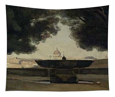 The Fountain Of The French Academy In Rome, 1826-27 Oil On Canvas Tapestry