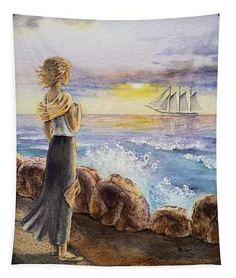 The Girl And The Ocean Tapestry