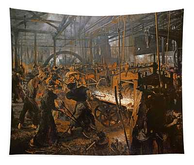 The Iron-rolling Mill Oil On Canvas, 1875 Tapestry