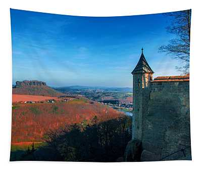 The Lilienstein Behind The Fortress Koenigstein Tapestry