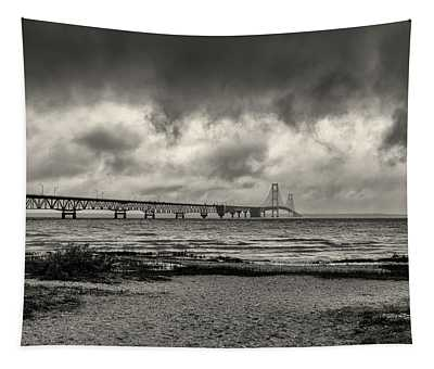 The Mackinac Bridge B W Tapestry