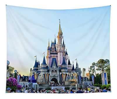 The Magic Kingdom Castle On A Beautiful Summer Day Horizontal Tapestry
