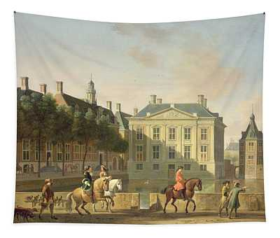 The Mauritshuis From The Langevijverburg, The Hague, With Hawking Party In The Foreground Oil Tapestry