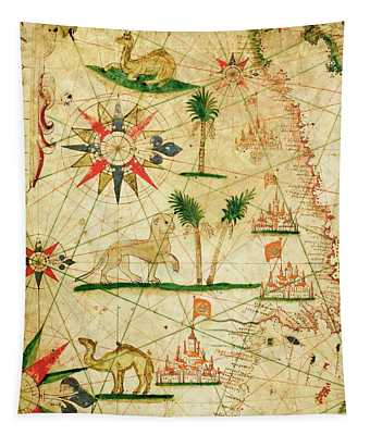 The North Coast Of Africa, From A Nautical Atlas, 1651 Ink On Vellum Tapestry