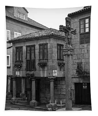 The Old Firewood Marketplace Bw Tapestry