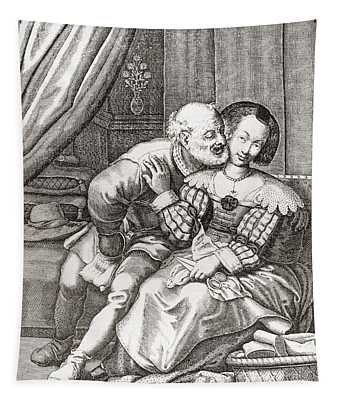 The Old Prurient, After A 16th Century French Engraving By Jaspar Isaac.   From Illustrierte Tapestry