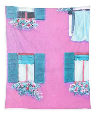 The Pink House With Green Shutters Tapestry