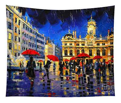 The Red Umbrellas Of Lyon Tapestry
