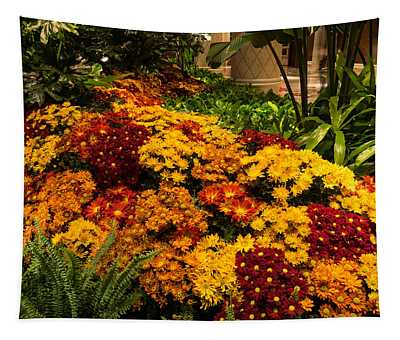 The Richness Of Autumn - An Exuberant Display Of Chrysanthemums Tapestry