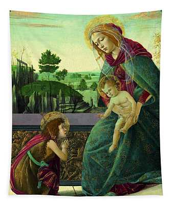The Rockefeller Madonna. Madonna And Child With Young Saint John The Baptist Tapestry