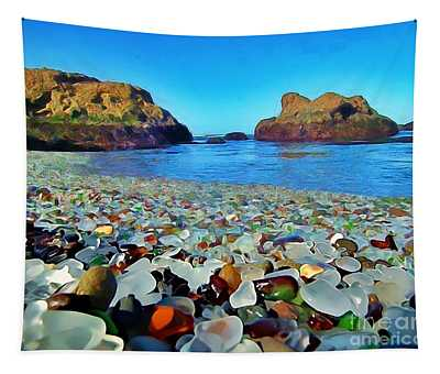 Glass Beach In Cali Tapestry