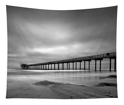 The Scripps Pier - Black And White Tapestry