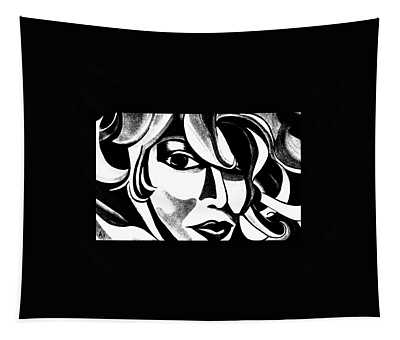 Black And White Abstract Woman Face Art Tapestry