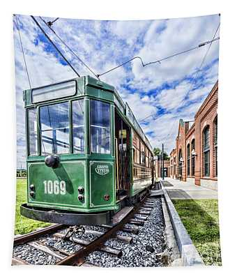 The Stib 1069 Streetcar At The National Capital Trolley Museum I Tapestry