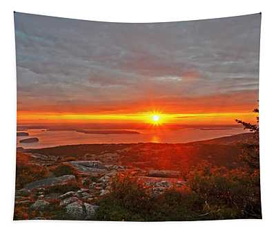 The Sunrise From Cadillac Mountain In Acadia National Park Tapestry