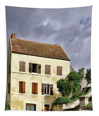The Tall Yellow House By The Old Stairway Tapestry