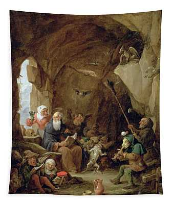 The Temptation Of St. Anthony In A Rocky Cavern Oil On Canvas Tapestry