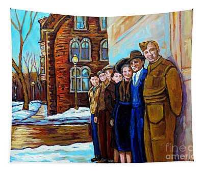 The War Years 1942 Montreal St Mathieu And De Maisonneuve Street Scene Canadian Art Carole Spandau Tapestry