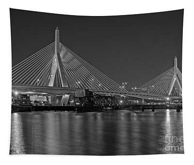 Tapestry featuring the photograph The Zakim Bridge Bw by Susan Candelario