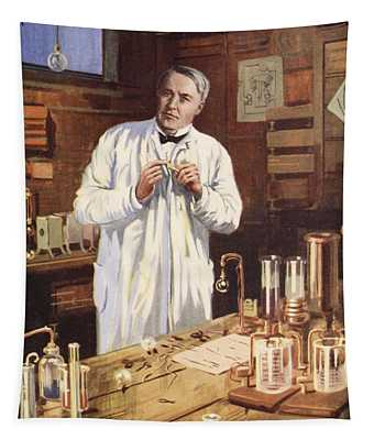 Thomas Edison In His Workshop Tapestry