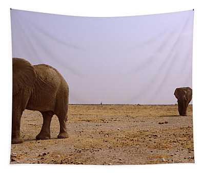 Three African Elephants Loxodonta Tapestry