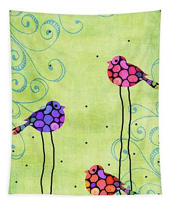 Three Birds - Spring Art By Sharon Cummings Tapestry
