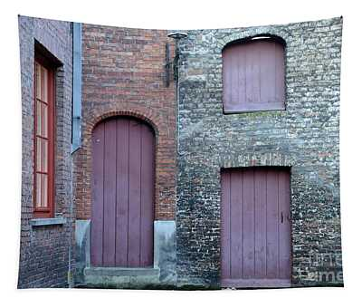 Three Doors And Two Windows Bruges, Belgium Tapestry