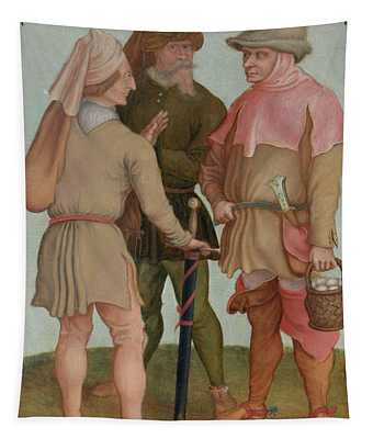 Three Peasants, 16th Or 17th Century Oil On Panel Tapestry