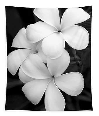 Three Plumeria Flowers In Black And White Tapestry