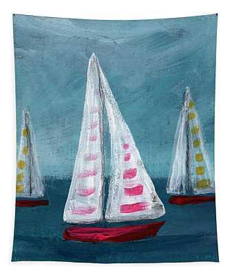 Three Sailboats Tapestry