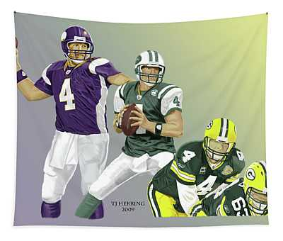 Three Stages Of Bret Favre Tapestry