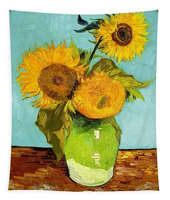 Three Sunflowers In A Vase Tapestry