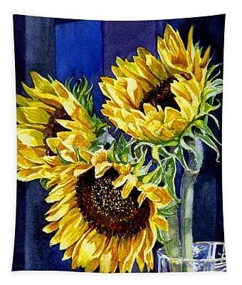Three Sunny Flowers Tapestry