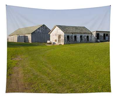 Three Weathered Farm Buildings Tapestry