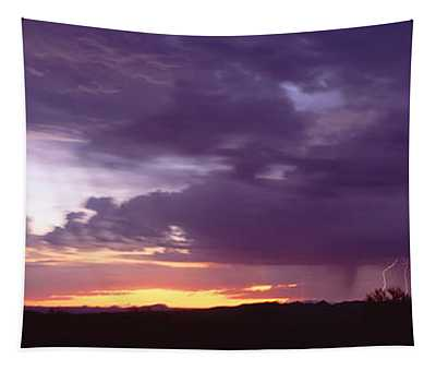 Thunderstorm Clouds At Sunset, Phoenix Tapestry