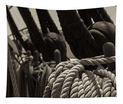 Tied Up Black And White Sepia Tapestry