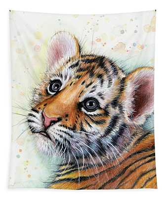 Tiger Cub Watercolor Art Tapestry