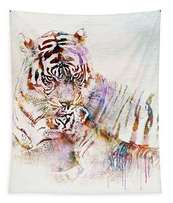 Tiger With Cub Watercolor Tapestry