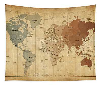 Time Zones Map Of The World Tapestry