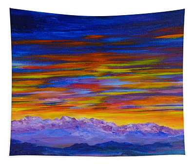 Tobacco Root Mountains Sunset Tapestry