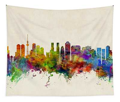 Tokyo Japan Skyline Tapestry