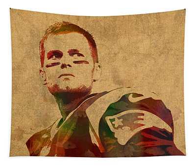 Tom Brady New England Patriots Quarterback Watercolor Portrait On Distressed Worn Canvas Tapestry