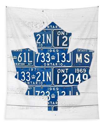 Toronto Maple Leafs Hockey Team Retro Logo Vintage Recycled Ontario Canada License Plate Art Tapestry
