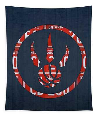 Toronto Raptors Basketball Team Retro Logo Vintage Recycled Ontario License Plate Art Tapestry
