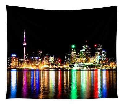 Toronto Skyline Night Tapestry